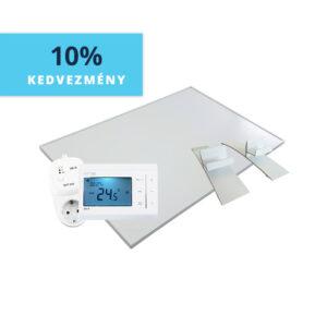 BVF PG 800W fehér üveg infrapanel + BVF törölközőszárító sín + BVF 23-FA termosztát